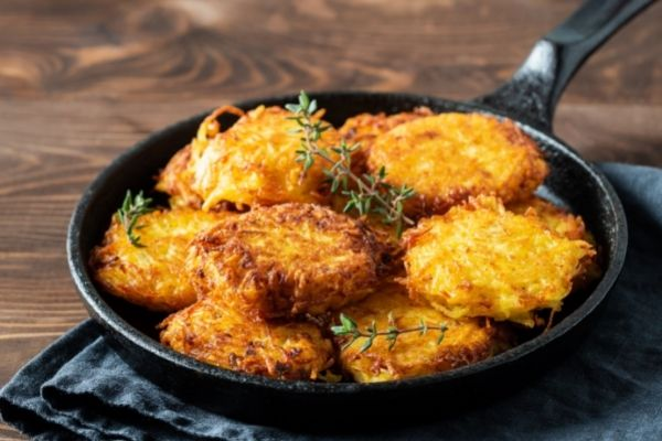 hash browns on a pan