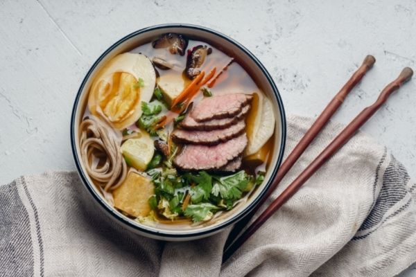ramen with various toppings