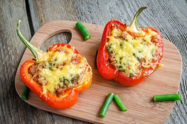 stuffed red pepper with melted cheese