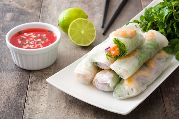 traditional rice paper Vietnamese spring rolls